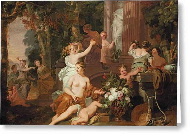 Nymphs And Bacchantes Paying Homage At The Temple Of Flora  Greeting Card by Gerard de Lairesse