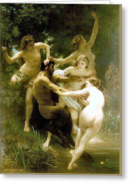 Nymphs And Satyr 1873 Greeting Card