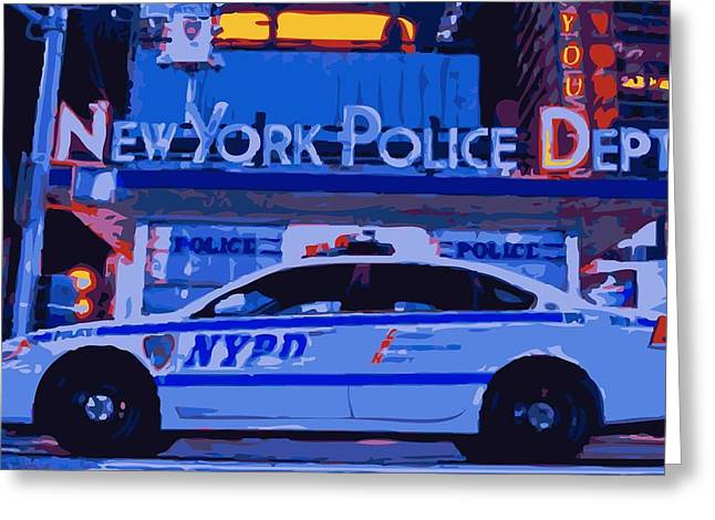 Police Department Greeting Cards - NYPD Color 16 Greeting Card by Scott Kelley