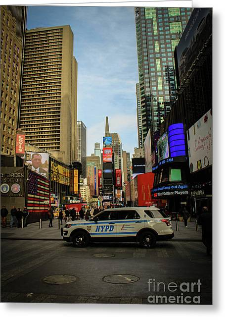 Nypd In Times Square Greeting Card by Victory Designs