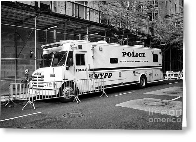 nypd police mobile command center vehicle New York City USA Greeting Card