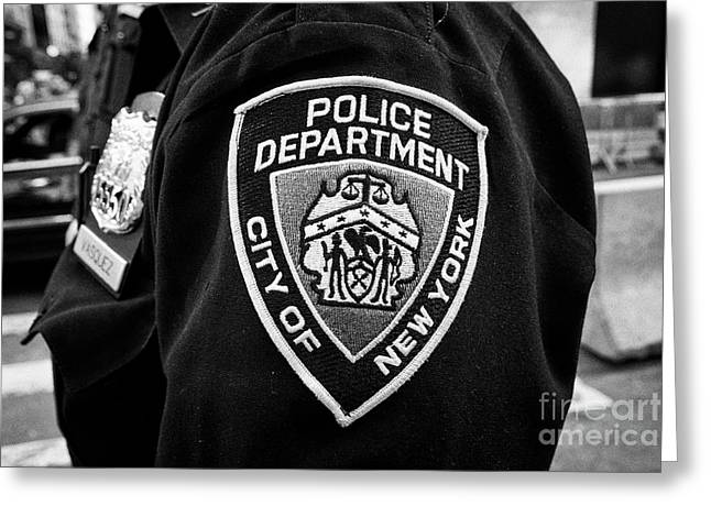 nypd police officer badge and crest New York City USA Greeting Card
