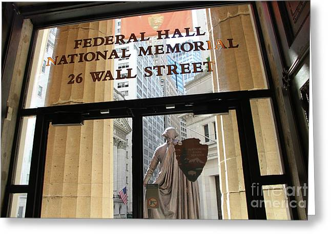 Nyse And Gw Statue View From Inside Federal Hall Building  Greeting Card