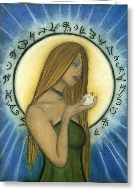 Nyx Goddess Of Night Greeting Card by Natalie Roberts