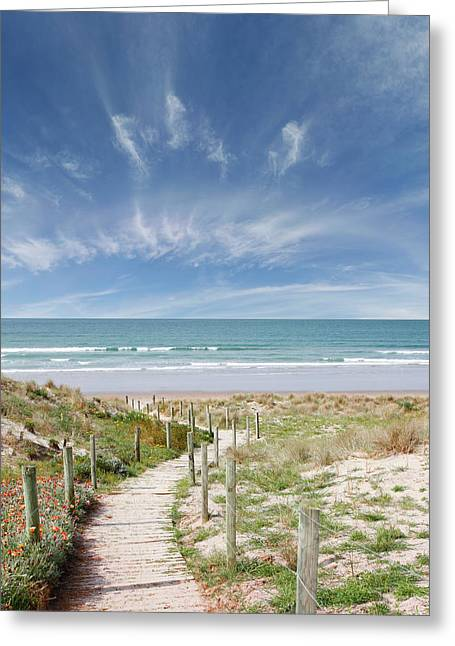 Nz Beach  Greeting Card by Les Cunliffe