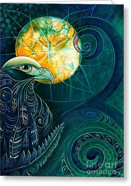 Nz Falcon Karearea Greeting Card by Reina Cottier