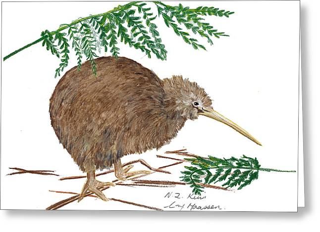 Nz Native Kiwi Bird Greeting Card by Christina Maassen
