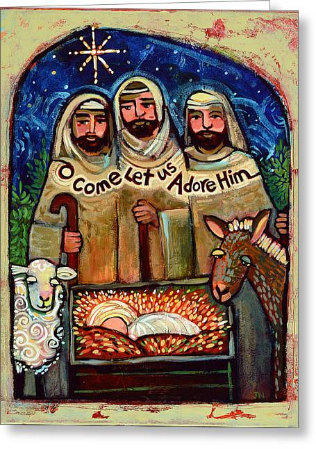 O Come Let Us Adore Him Shepherds Greeting Card by Jen Norton