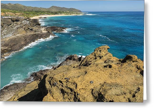 Oahu Coastline Greeting Card by Christian Heeb