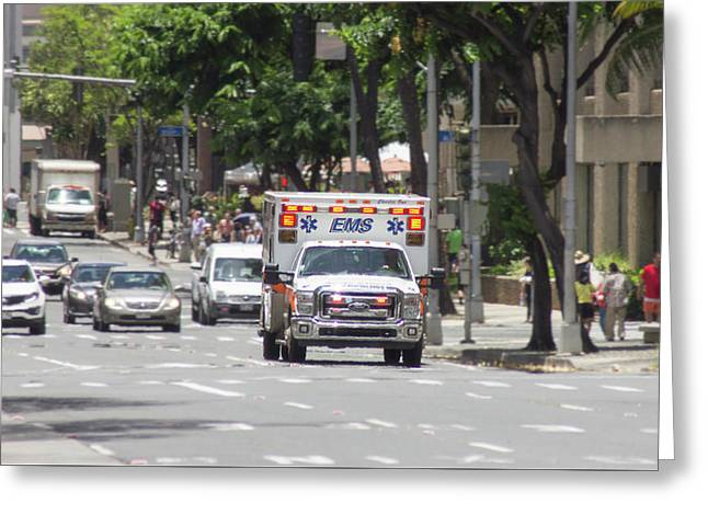 Greeting Card featuring the photograph Oahu Emergency by RKAB Works