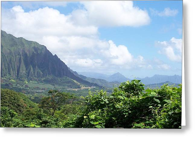 Oahu Mountain Greeting Card by Dawn Marie Black