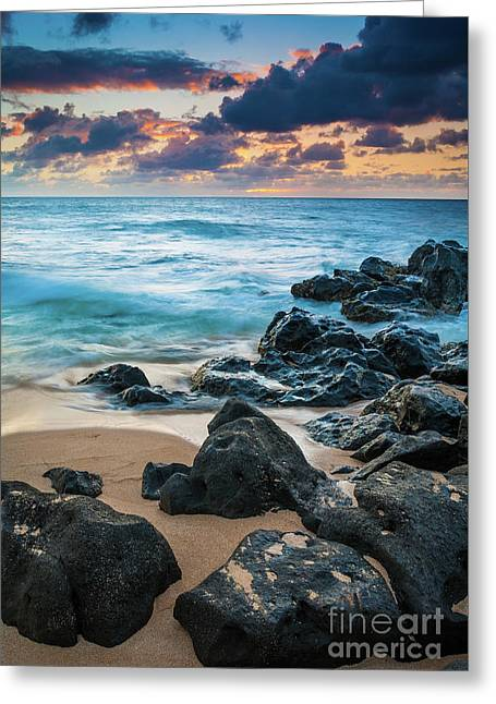 Oahu Sunset Beach Greeting Card by Inge Johnsson