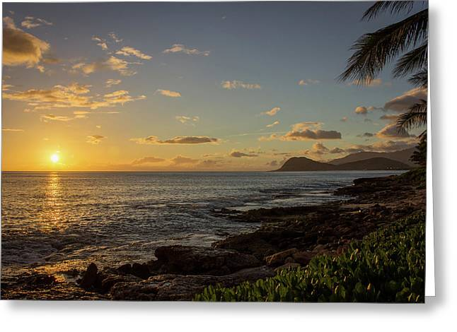 Greeting Card featuring the photograph Oahu Sunset by RKAB Works