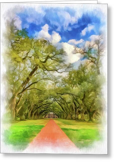 Oak Alley 7 - Paint Vignette Greeting Card by Steve Harrington