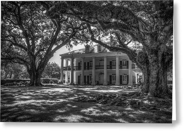Oak Alley Plantation-bw Greeting Card by Tom Weisbrook