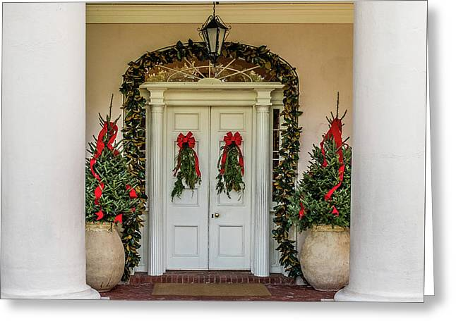 Greeting Card featuring the photograph Oak Alley Plantation Doors by Paul Freidlund