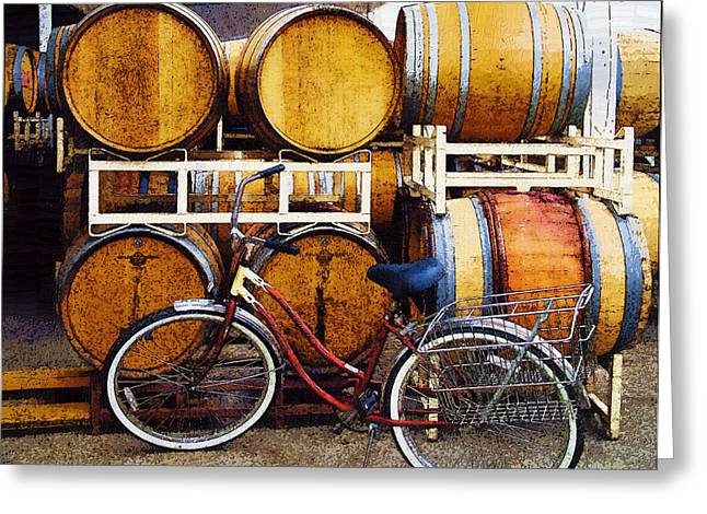 Oak Barrels And Bicycle Greeting Card