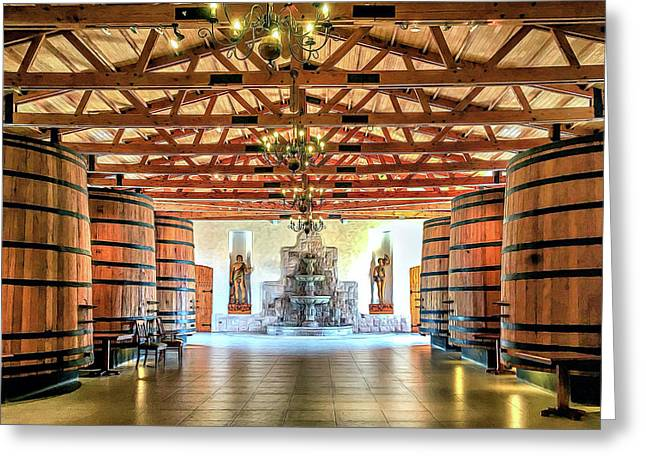 Oak Barrels Greeting Card by Maria Coulson