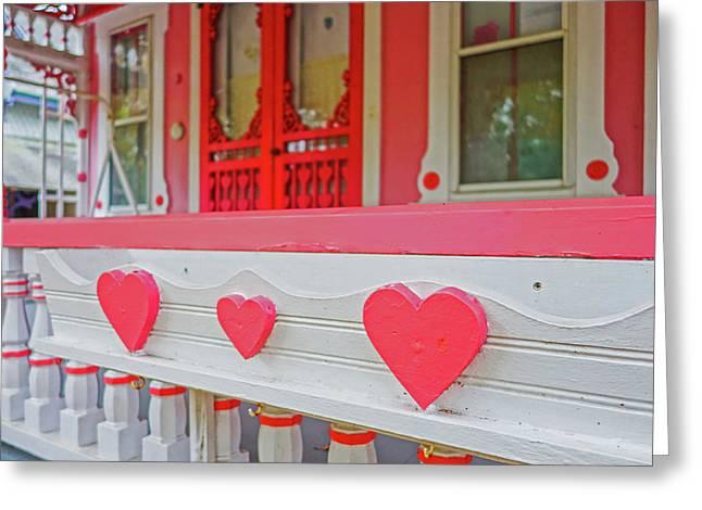 Oak Bluffs Cottages Martha's Vineyard Ma Cape Cod Autumn Red Hearts Greeting Card