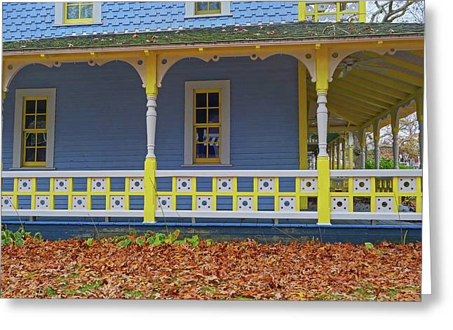 Oak Bluffs Cottages Martha's Vineyard Ma Cape Cod Autumn Yellow And Blue Greeting Card