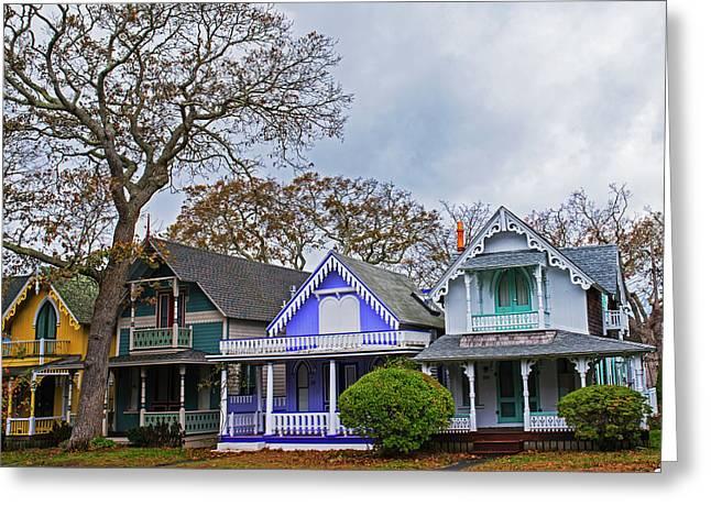Oak Bluffs Cottages Martha's Vineyard Ma Cape Cod Greeting Card
