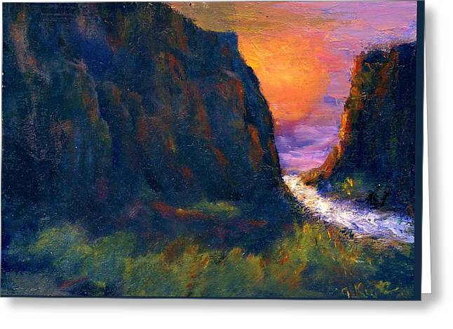 Greeting Card featuring the painting Oak Creek Canyon by Gail Kirtz