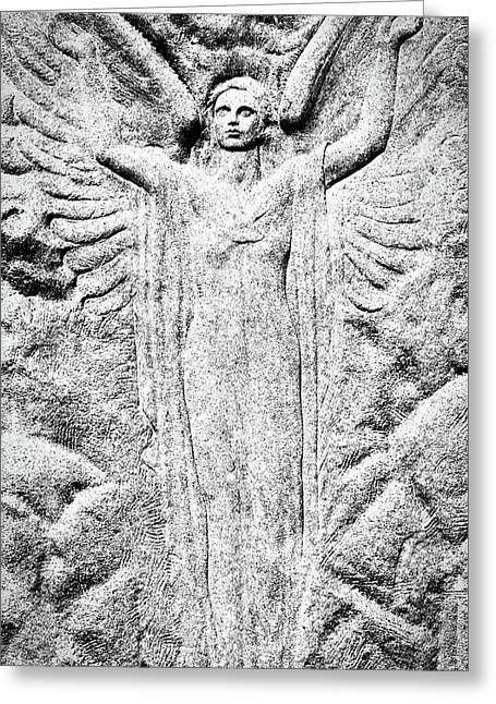 Oak Hill Cemetery Angel Greeting Card by Stuart Litoff