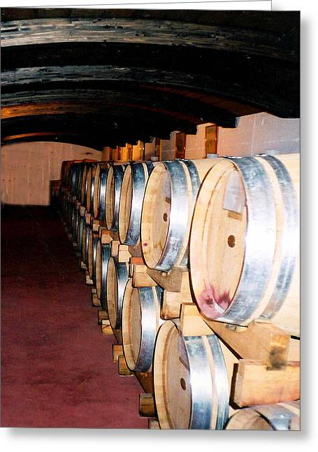 Greeting Card featuring the photograph Oak Red Wine Barrels by Donna Proctor