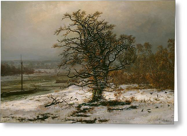 Oak Tree By The Elbe In Winter Greeting Card by Johan Christian Dahl