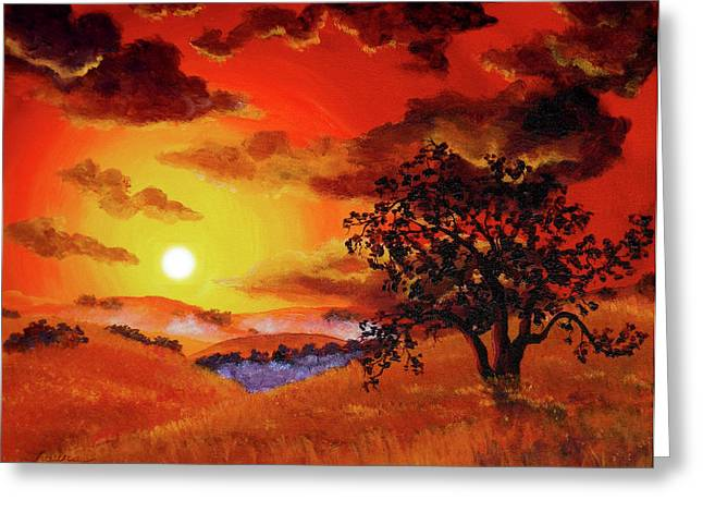 Oak Tree In Red Sunset Greeting Card by Laura Iverson