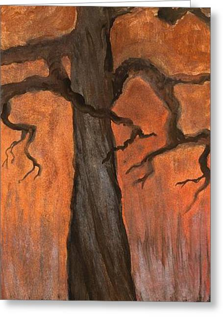 Oak Tree In The Fall Greeting Card by Anna Folkartanna Maciejewska-Dyba