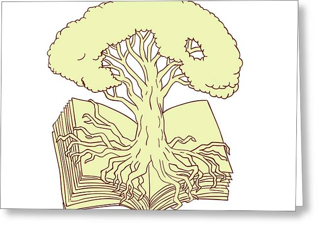 Oak Tree Rooted On Book Drawing Greeting Card by Aloysius Patrimonio