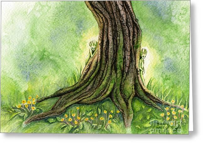 Glowing Paintings Greeting Cards - Oak Tree Sprites Greeting Card by Antony Galbraith