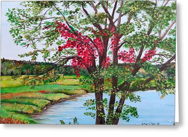 Oak Tree Standing Greeting Card by Marilyn McNish