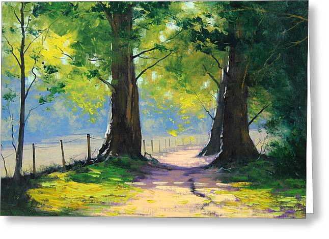 Oak Tree Paintings Greeting Cards - Oak Tree Trail Greeting Card by Graham Gercken