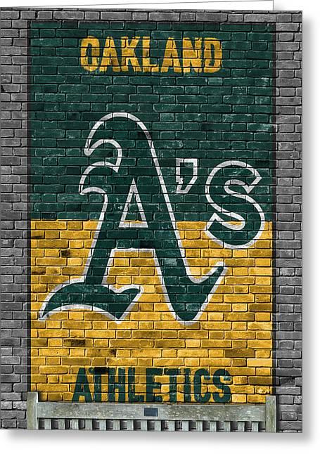 Oakland Athletics Brick Wall Greeting Card by Joe Hamilton