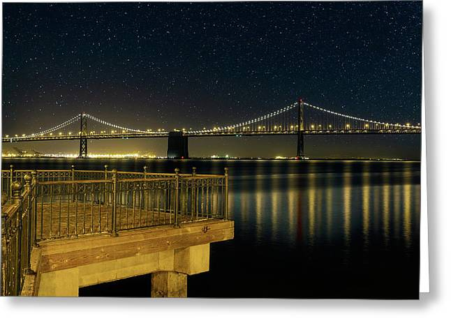Oakland Bay Bridge By The Pier In San Francisco At Night Greeting Card
