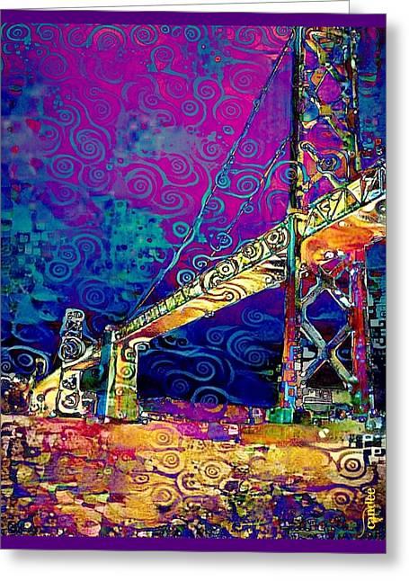 Oakland Bay Bridge - Night Greeting Card