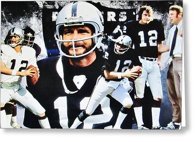 Oakland Raiders #12 Quarterback Kenny Stabler And Head Coach John Madden Greeting Card