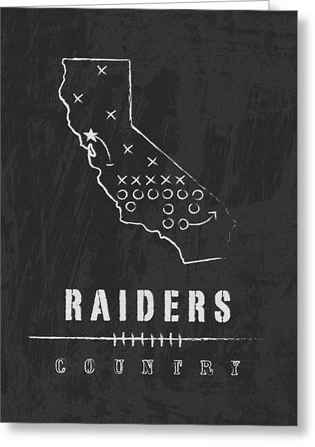 Oakland Raiders Art - Nfl Football Wall Print Greeting Card by Damon Gray