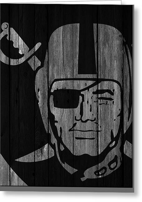 Oakland Raiders Wood Fence Greeting Card