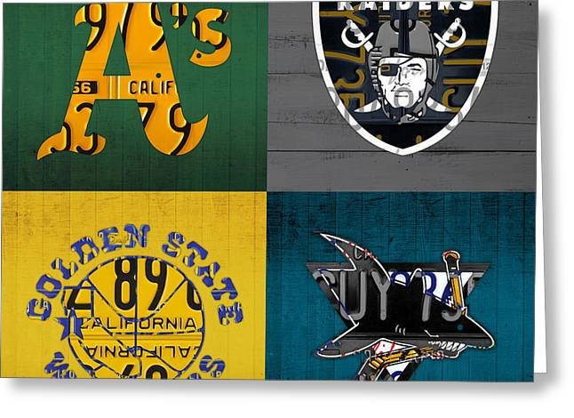 Oakland Sports Fan Recycled Vintage California License Plate Art Athletics Raiders Warriors Sharks Greeting Card by Design Turnpike