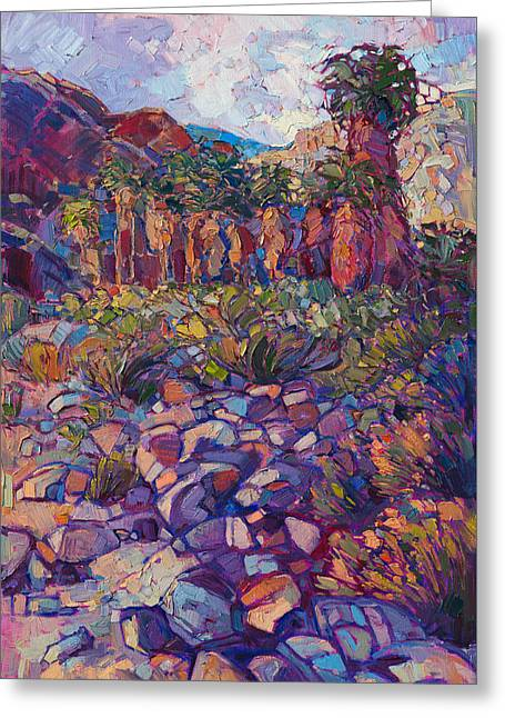 Greeting Card featuring the painting Oasis Boulders by Erin Hanson