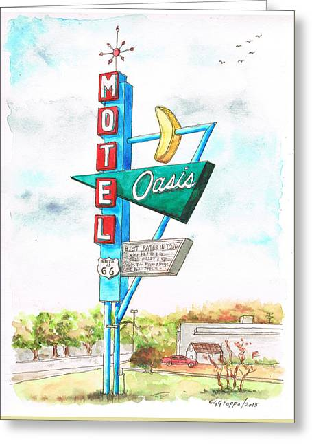 Oasis Motel In Route 66, Tulsa, Texas Greeting Card