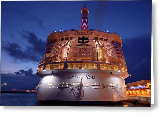 Greeting Card featuring the photograph Oasis Of The Seas At  Twilight  by Bradford Martin