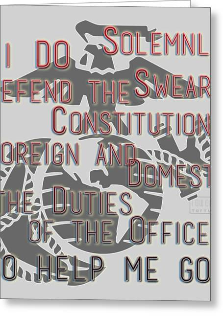 Greeting Card featuring the mixed media Oath by TortureLord Art