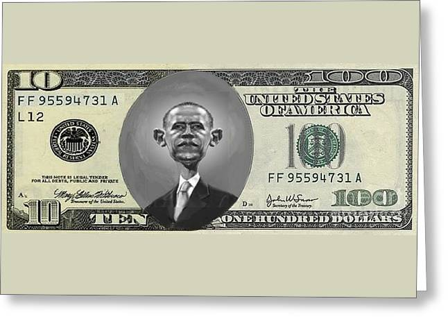 Obama Dollar Greeting Card by Charles Robinson