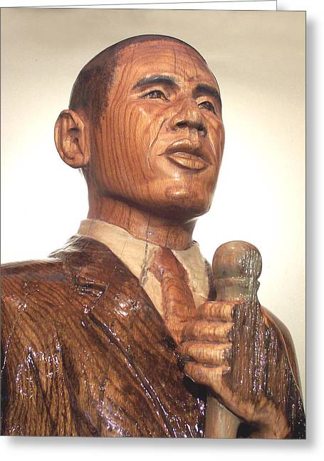 Obama In A Red Oak Log - Up Close Greeting Card by Robert Crowell