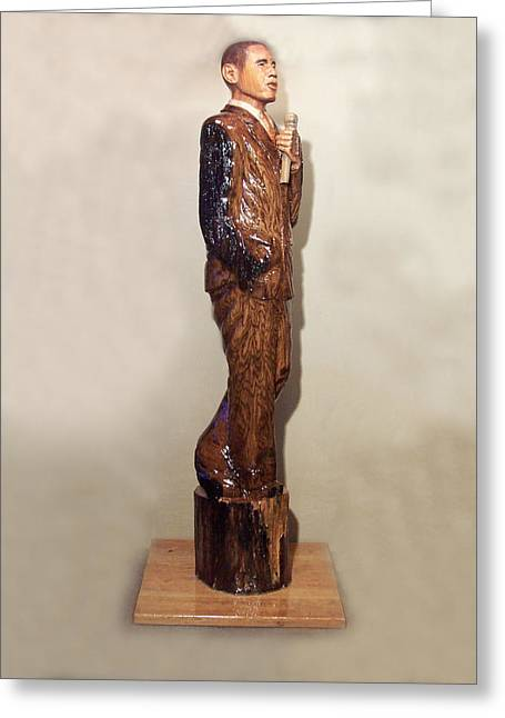 Obama In A Red Oak Log Greeting Card by Robert Crowell