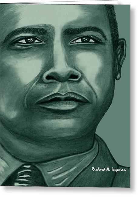 Obama In Bronze Greeting Card by Richard Heyman